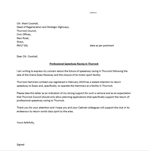 Thurrock-Hammers speedway Letter of Support